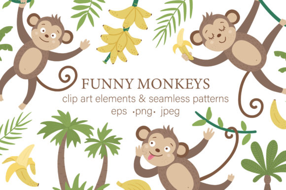Download Free Funny Monkeys Graphic By Lexiclaus Creative Fabrica for Cricut Explore, Silhouette and other cutting machines.