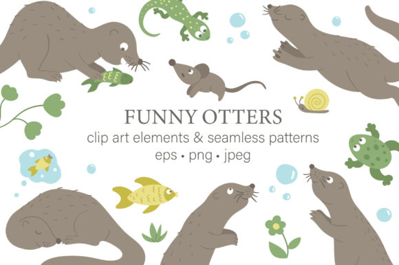 Funny Otters Graphic Illustrations By lexiclaus