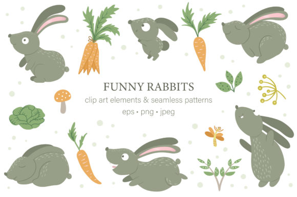 Funny Rabbits Graphic Illustrations By lexiclaus