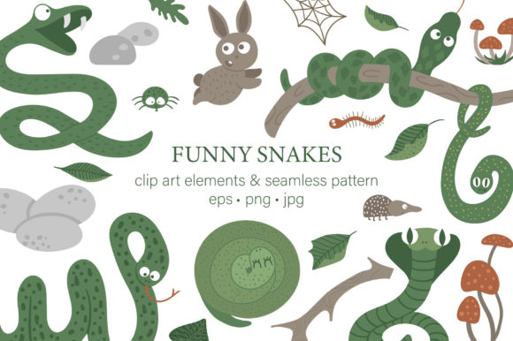 Funny Snakes Graphic Illustrations By lexiclaus