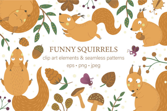 Download Free Funny Squirrels Graphic By Lexiclaus Creative Fabrica for Cricut Explore, Silhouette and other cutting machines.