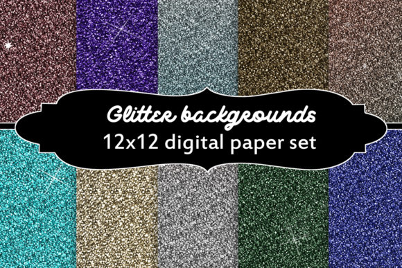 Print on Demand: Glitter Backgrounds Set Graphic Backgrounds By A Design in Time