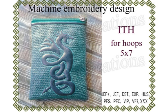 Great Dragon Zippered Bag Sewing & Crafts Embroidery Design By ImilovaCreations - Image 1