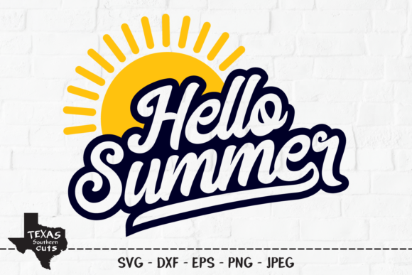 Download Free Hello Summer Shirt Design Graphic By Texassoutherncuts SVG Cut Files