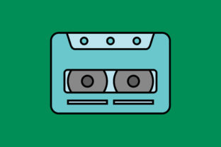 Print on Demand: Icon Cassette Tape Full Color Outline Graphic Icons By sailingshipstudio
