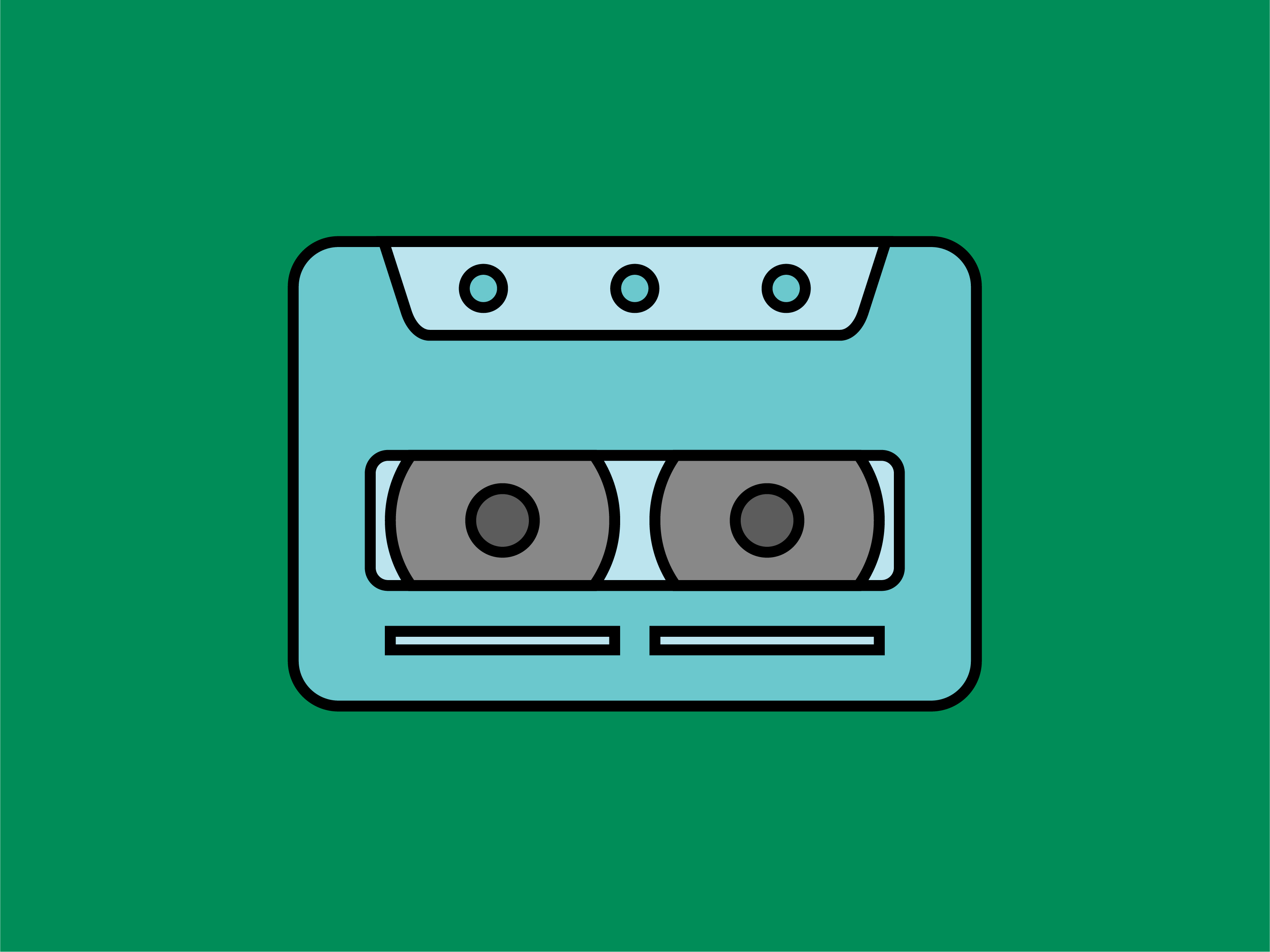 Icon Cassette Tape Full Color Outline Graphic By Meandmydate