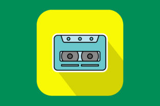 Print on Demand: Icon Cassette Tape Modern Color Outline Graphic Icons By sailingshipstudio