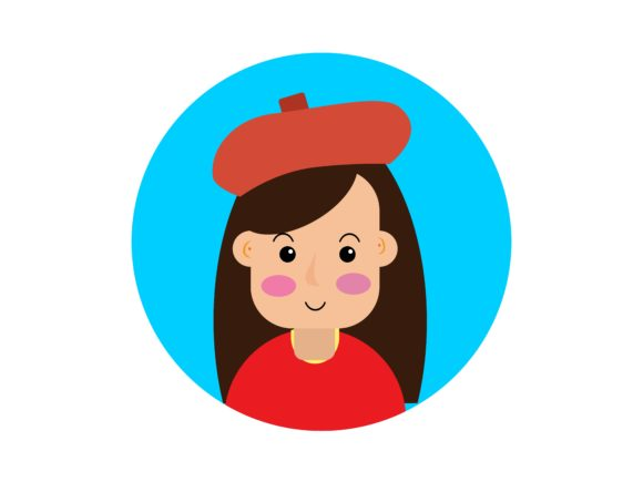Download Free Icon Character Teenage Girl With Red Hat Graphic By for Cricut Explore, Silhouette and other cutting machines.