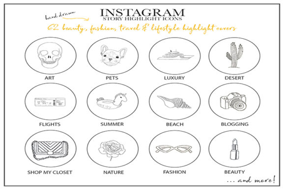 Instagram Story Highlight Icons - Set of 62 Graphic Icons By Masters of Mockups