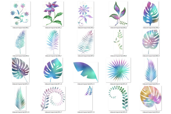 Print on Demand: Iridescent Leaves Clipart Graphic Illustrations By Digital Curio - Image 3