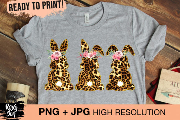 Print on Demand: Leopard Easter Bunnies   Graphic Crafts By roxysvg26