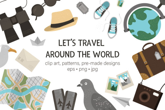 Download Free Let S Travel Around The World Graphic By Lexiclaus Creative Fabrica for Cricut Explore, Silhouette and other cutting machines.