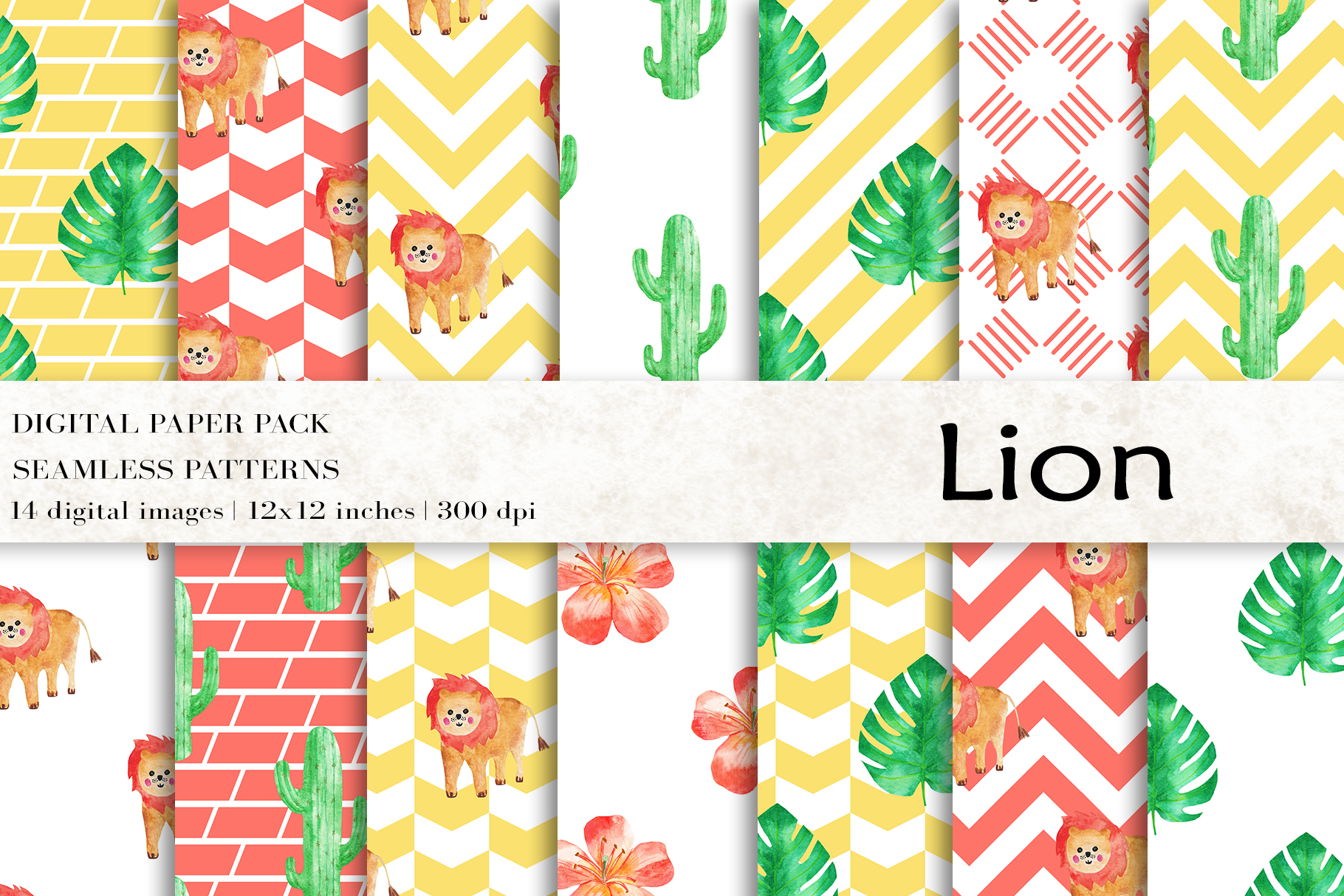 Download Free Lion Digital Papers Animal Patterns Graphic By Bonadesigns for Cricut Explore, Silhouette and other cutting machines.