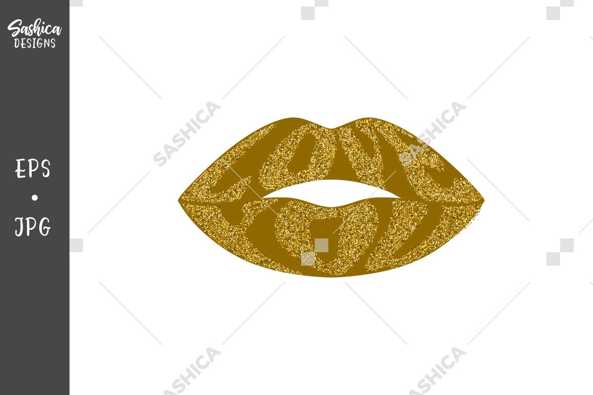 Download Free Love You Quote Lips Gold Glitter Graphic By Sashica Designs for Cricut Explore, Silhouette and other cutting machines.
