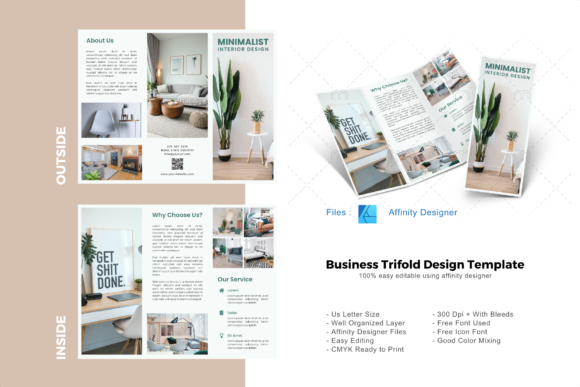 Download Free Minimal Interior Trifold Template Graphic By Rivatxfz Creative for Cricut Explore, Silhouette and other cutting machines.