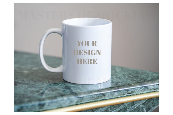 Minimal Mug Mock Up on Green Marble Graphic Product Mockups By Masters of Mockups