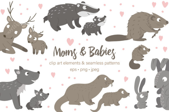 Moms and Babies Graphic Illustrations By lexiclaus