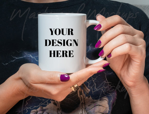 Mug Mockup with Rock Style Model Hand Graphic Product Mockups By Masters of Mockups