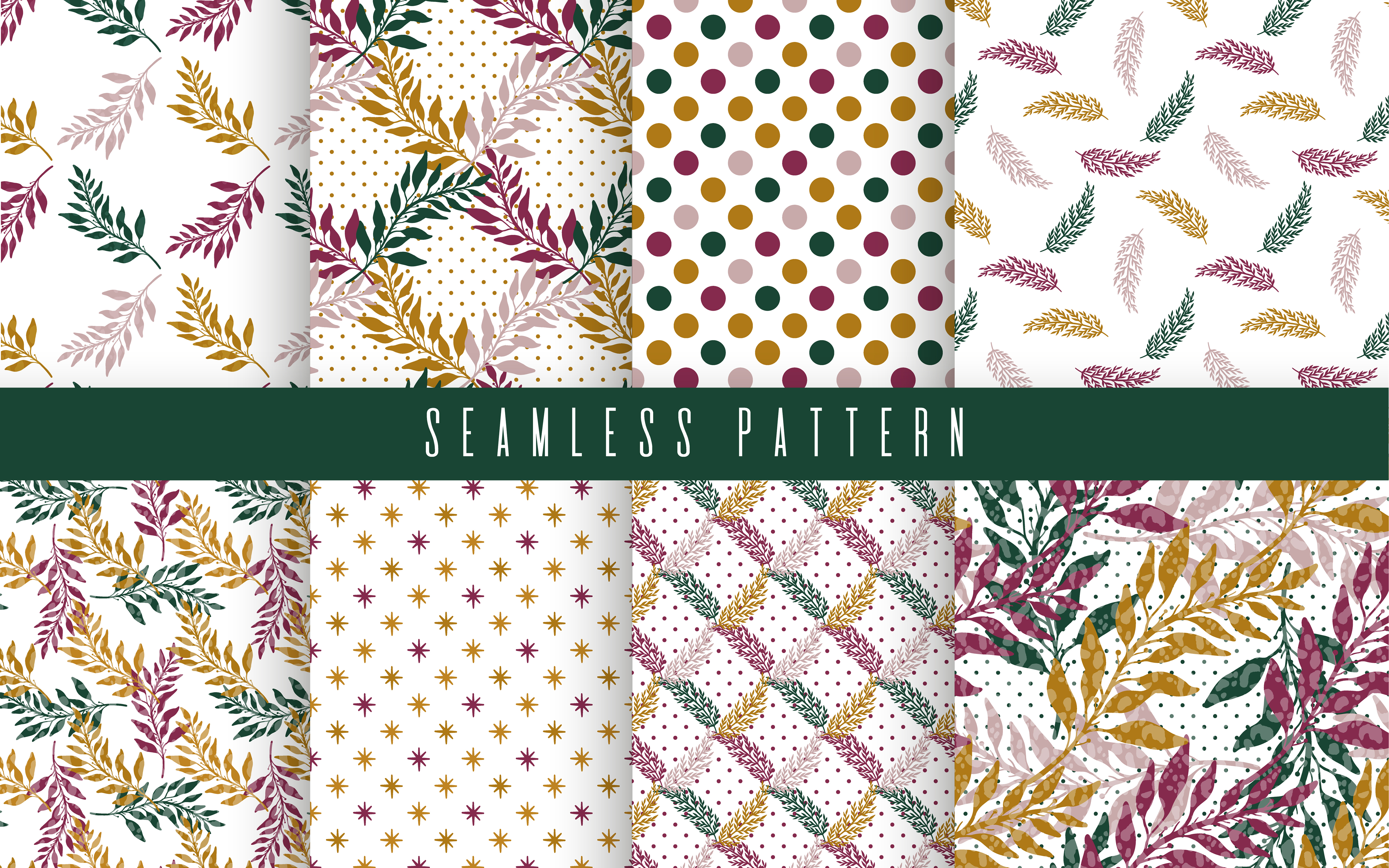 Download Free Nature Plant Pattern Set Graphic By Arina Ulyasheva Creative for Cricut Explore, Silhouette and other cutting machines.
