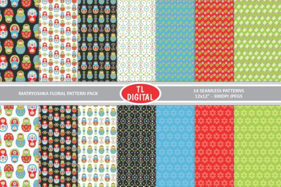 Nesting Dolls and Flowers Pattern Pack Graphic Patterns By TL Digital