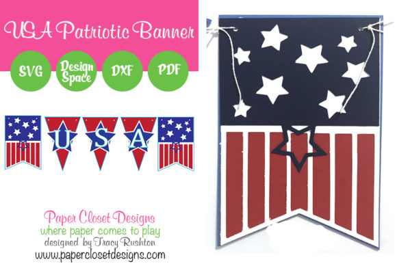 Print on Demand: Patriotic July 4th USA Banner Graphic 3D SVG By rushton_tracy