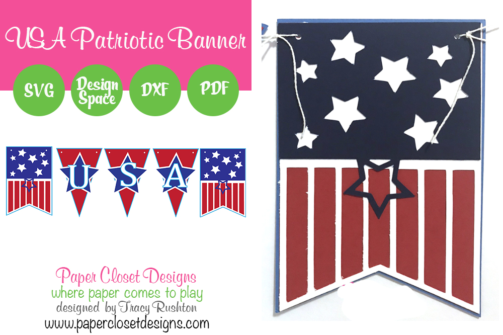 Download Free Patriotic July 4th Usa Banner Graphic By Rushton Tracy for Cricut Explore, Silhouette and other cutting machines.