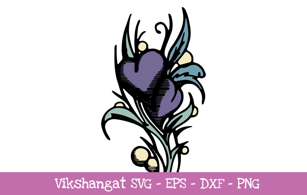 Download Free Purple Heart Flower Vintage Cut Files Graphic By Vikshangat for Cricut Explore, Silhouette and other cutting machines.