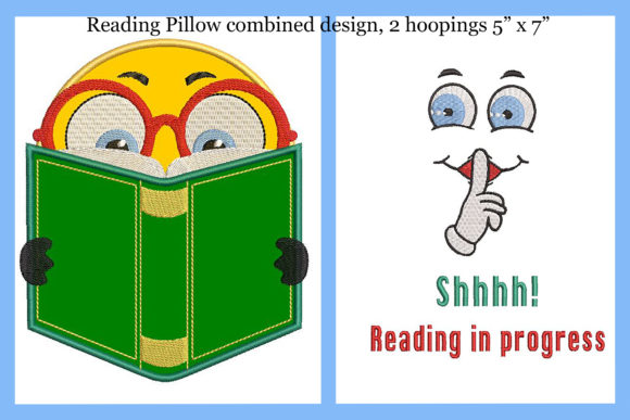 Print on Demand: Reading Pillow 2 Combined Designs in One Boys & Girls Embroidery Design By Embroidery Shelter