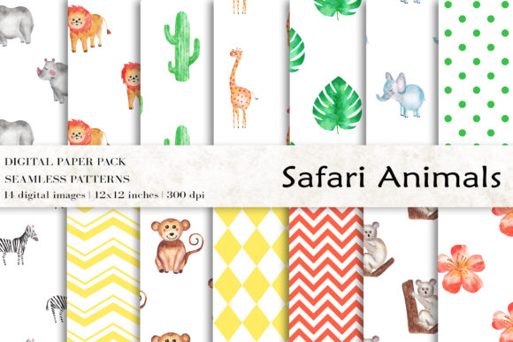 Download Free Safari Animals Digital Papers Graphic By Bonadesigns Creative for Cricut Explore, Silhouette and other cutting machines.