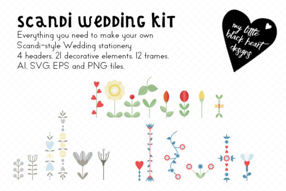 Download Free Scandi Wedding Kit Graphic By My Little Black Heart Creative for Cricut Explore, Silhouette and other cutting machines.