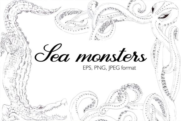 Download Free Sea Monsters Black And White Graphics Graphic By Mariya Kutuzova for Cricut Explore, Silhouette and other cutting machines.