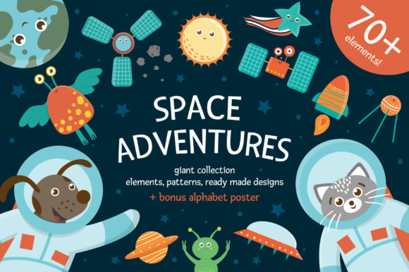 Download Free Space Adventures Graphic By Lexiclaus Creative Fabrica for Cricut Explore, Silhouette and other cutting machines.