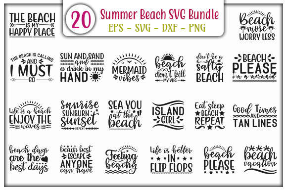 Print on Demand: Summer Beach Quotes Bundle Graphic Print Templates By GraphicsBooth