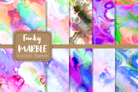 Print on Demand: Totally Funky Digital Marble Paper Set 3 Graphic Backgrounds By Prawny