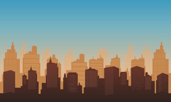 Town City of Silhouette in the Morning Graphic Backgrounds By cityvector91