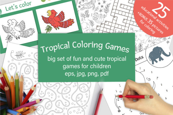 Tropical Coloring Games Graphic Coloring Pages & Books Kids By lexiclaus