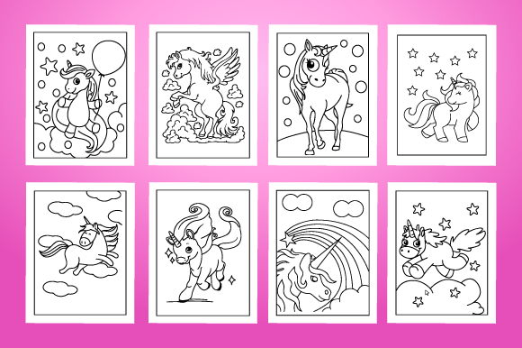 Download Free Unicorn Coloring Pages For Kids Graphic By Mk Designs Creative for Cricut Explore, Silhouette and other cutting machines.