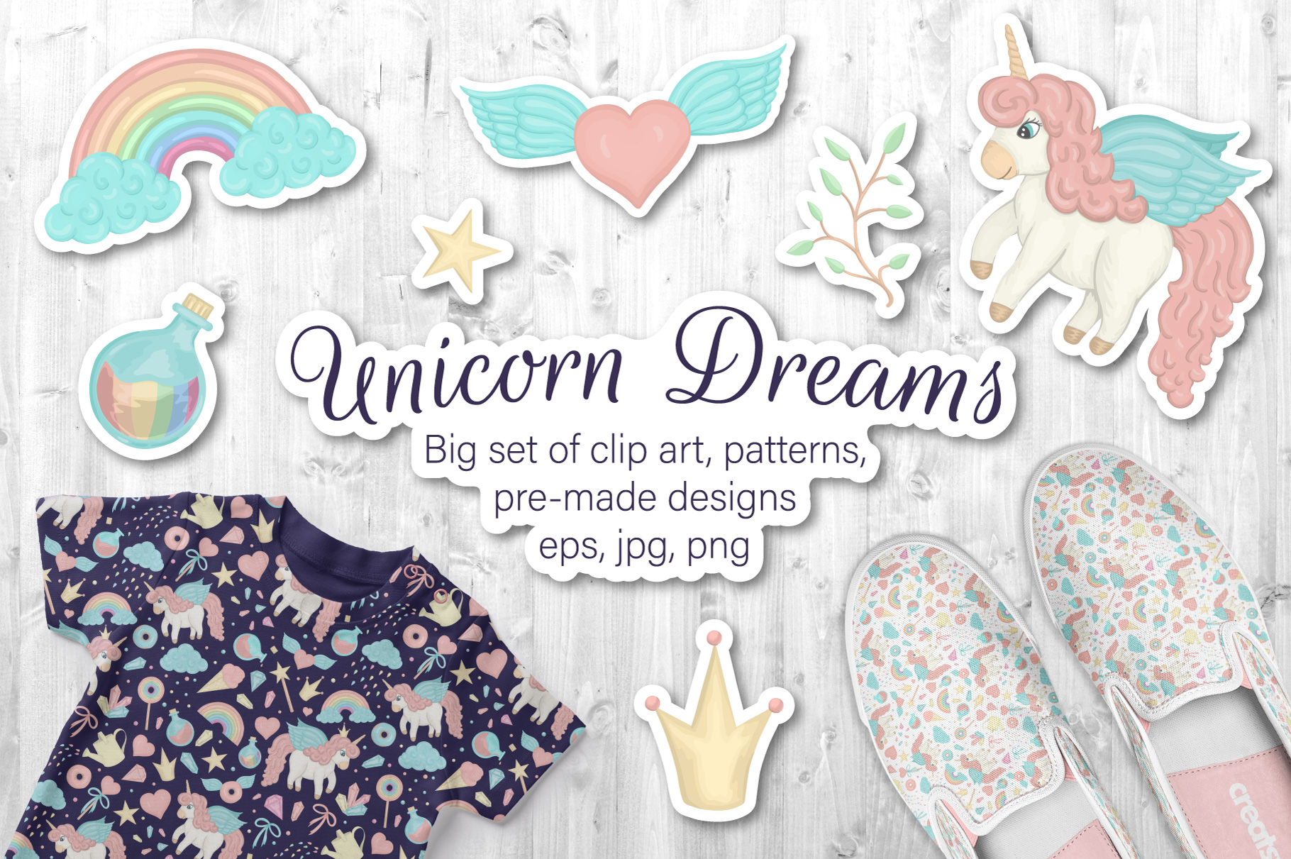Download Free Unicorn Dreams Graphic By Lexiclaus Creative Fabrica for Cricut Explore, Silhouette and other cutting machines.