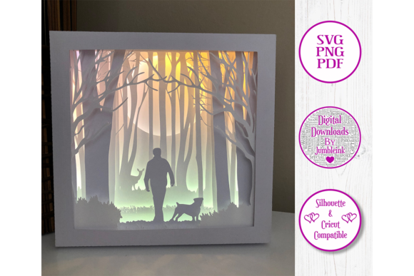 Walking the Dog 3D Paper Cut Shadow Box Graphic 3D Shadow Box By Jumbleink Digital Downloads