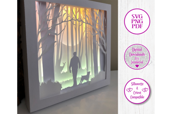 Download Free Walking The Dog 3d Paper Cut Shadow Box Graphic By Jumbleink for Cricut Explore, Silhouette and other cutting machines.