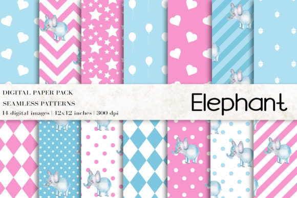 Download Free Watercolor Elephant Digital Papers Graphic By Bonadesigns for Cricut Explore, Silhouette and other cutting machines.