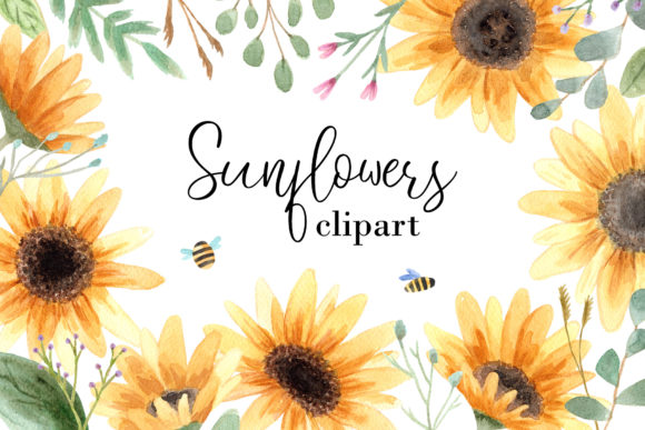 Watercolor Sunflowers Clipart Graphic Objects By Slastick