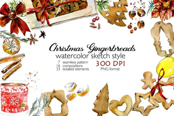 Watercolor Set. Gingerbreads. Graphic Illustrations By Мария Кутузова