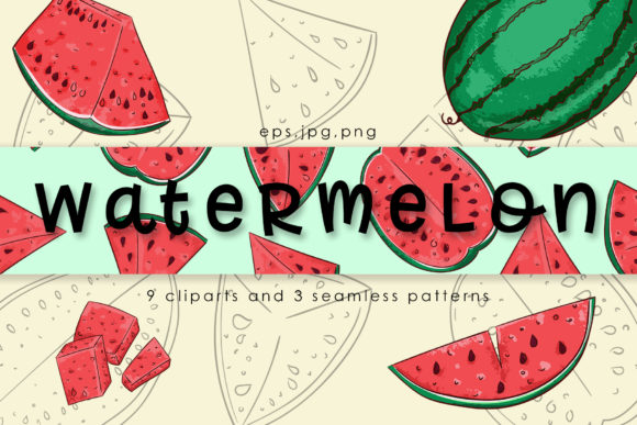 Download Free Watermelon Vector Clipart Pattern Graphic By Gennadii Art for Cricut Explore, Silhouette and other cutting machines.