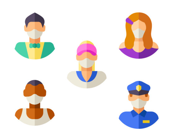 Download Free Avatars With Medical Masks Graphic By Ssiimpti73 Creative Fabrica SVG Cut Files