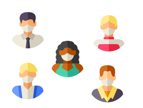 Download Free Avatars With Medical Masks Graphic By Ssiimpti73 Creative Fabrica for Cricut Explore, Silhouette and other cutting machines.