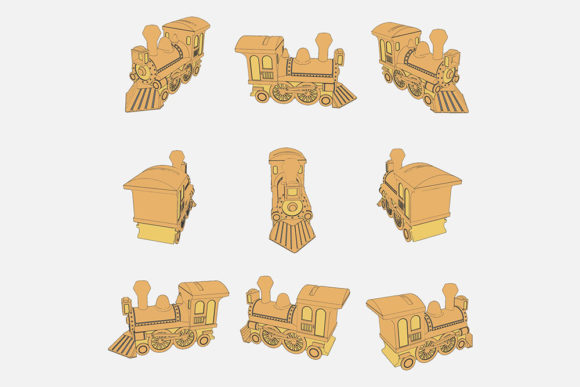 Download Free Illustration Of A Toy Train Graphic By Gblack Id Creative Fabrica for Cricut Explore, Silhouette and other cutting machines.