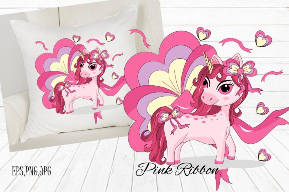 Download Free Unicorn Pink Ribbon Graphic By Suda Digital Art Creative Fabrica for Cricut Explore, Silhouette and other cutting machines.