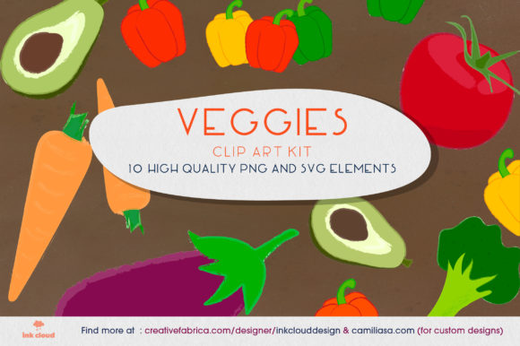 Print on Demand: 10 Vegetables Veggie Clip Art - Food Kit Graphic Illustrations By Inkclouddesign