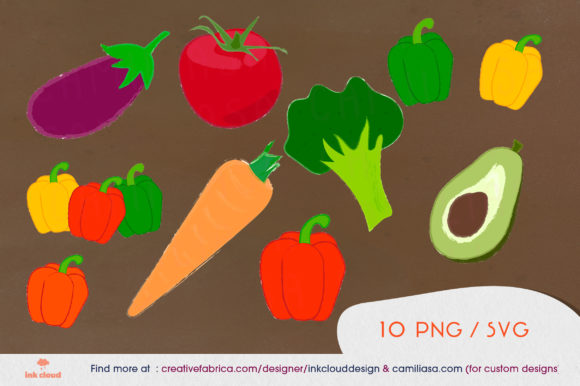 Download Free 10 Vegetables Veggie Clip Art Food Kit Graphic By for Cricut Explore, Silhouette and other cutting machines.